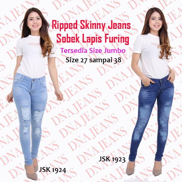 Celana jeans Wanita dark rita ripped sobek lapis jumbo bigsize Minka   Shopee Indonesia