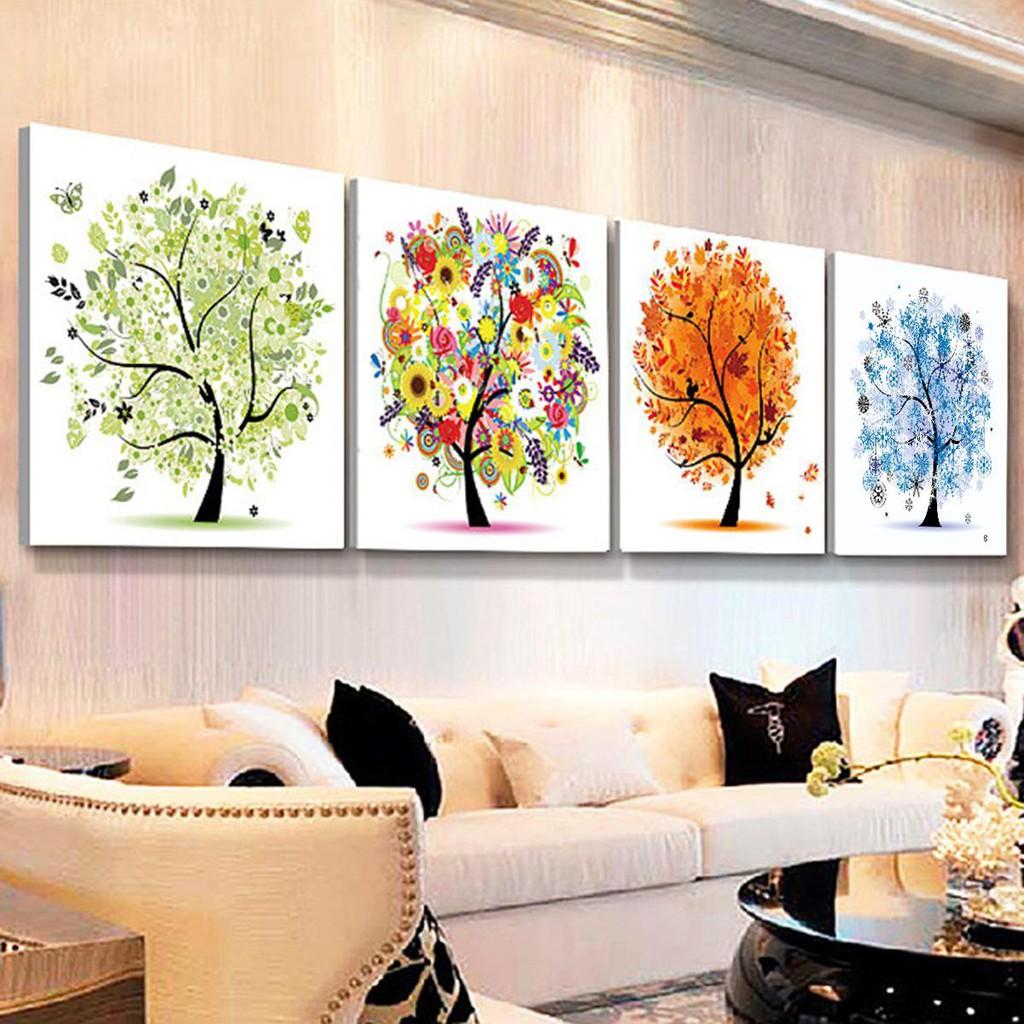 Lukisan 5D Diamond Gambar Pohon 4 Musim Untuk Dekorasi Rumah