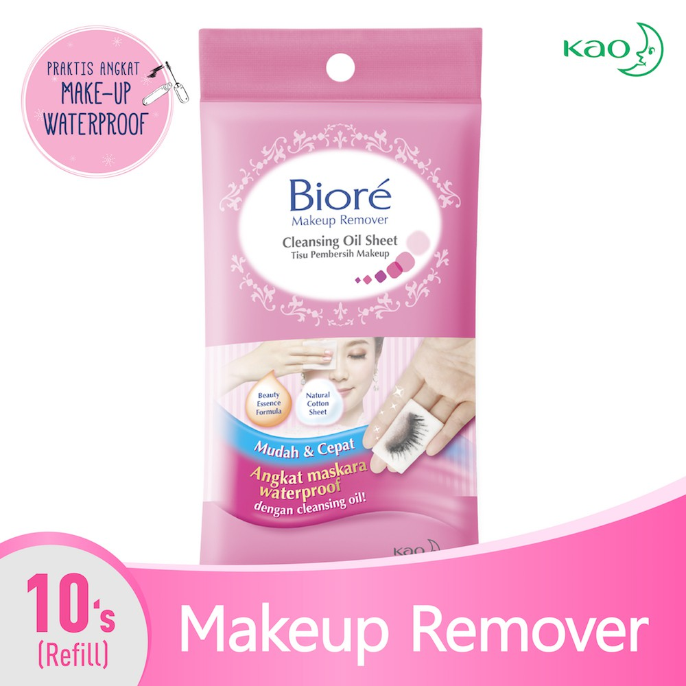 Biore Make Up Remover Cleansing Oil - In Cotton Wipes 10's | Shopee Indonesia