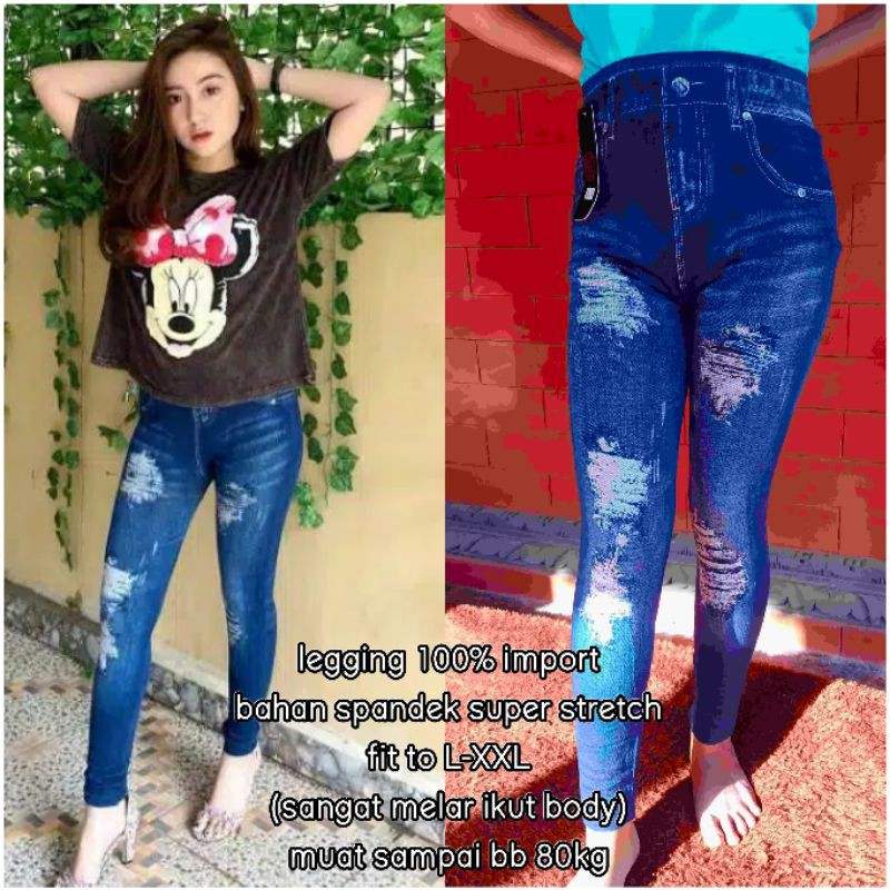 New Jegging Legging Jeans Import Motif Sobek Shopee Indonesia