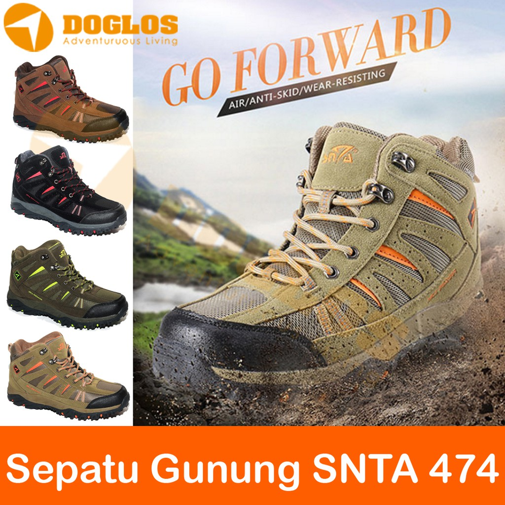 Sepatu Gunung Hiking Snta 491 Outdoor Shoes Black Shopee Indonesia 467 Series Trekking