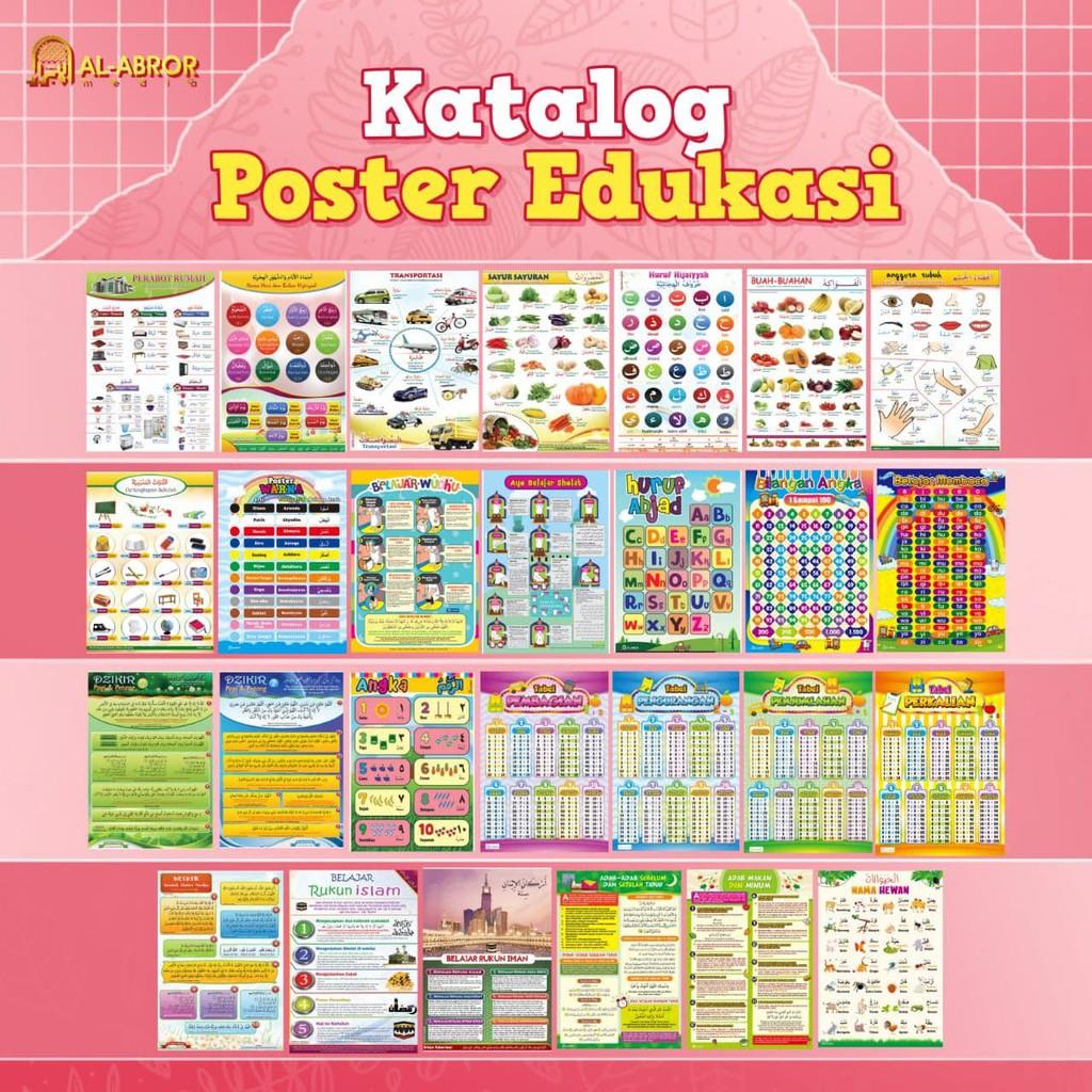 Poster Edukasi Edukatif Belajar Anak Muslim Islami Sunnah Indonesia Arab  Nama Ibadah Berhitung