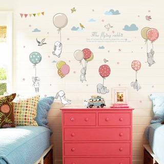 DIY Stiker Dinding dengan Bahan Mudah Dilepas dan Gambar Kartun Kelinci  untuk Dekorasi Rumah