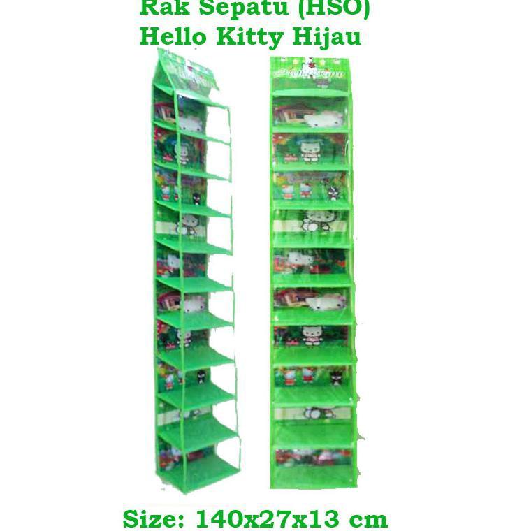HSOZ Hello Kitty Hijau (Hanging Shoes Organizer Zipper) Rak Sepatu Gantung Karakter Retsleting | Shopee Indonesia