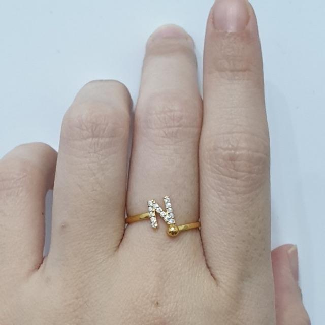 Cincin emas asli kadar 875 model huruf N uk 13 140