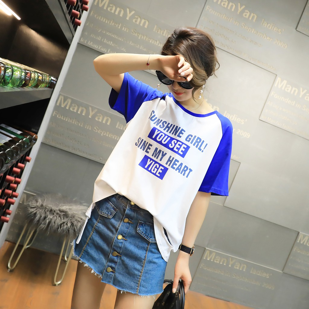 Kaos T-Shirt Wanita Casual Lengan Pendek Model Longgar Oversize Round Neck untuk Musim Panas
