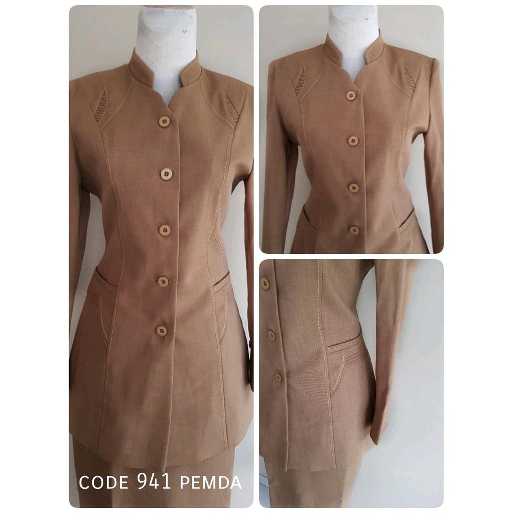 Unik Seragam Pemda Coklat, Blazer Pemda, Setelan Pemda, Blus + Celana / Rok