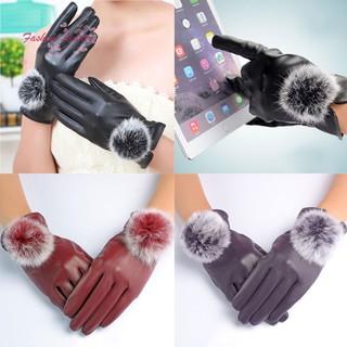 FL 1 Pasang Sarung Tangan Wanita Bahan Kulit PU + Bulu Kelinci Hangat Lembut untuk Musim