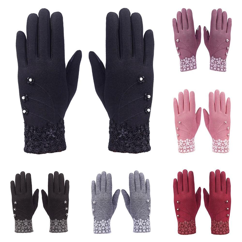 Sarung Tangan Full Finger Motif Bunga Velvet Lace Wanita Untuk