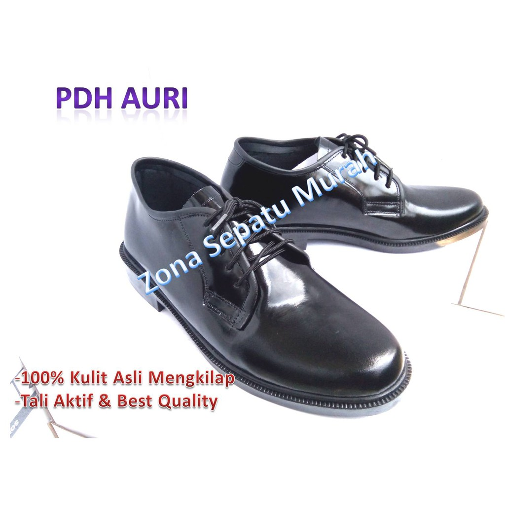 Sepatu Pdh P Pls Standar Tni Polri Super Kilap Shopee Indonesia Tali Ressleting Mengkilap