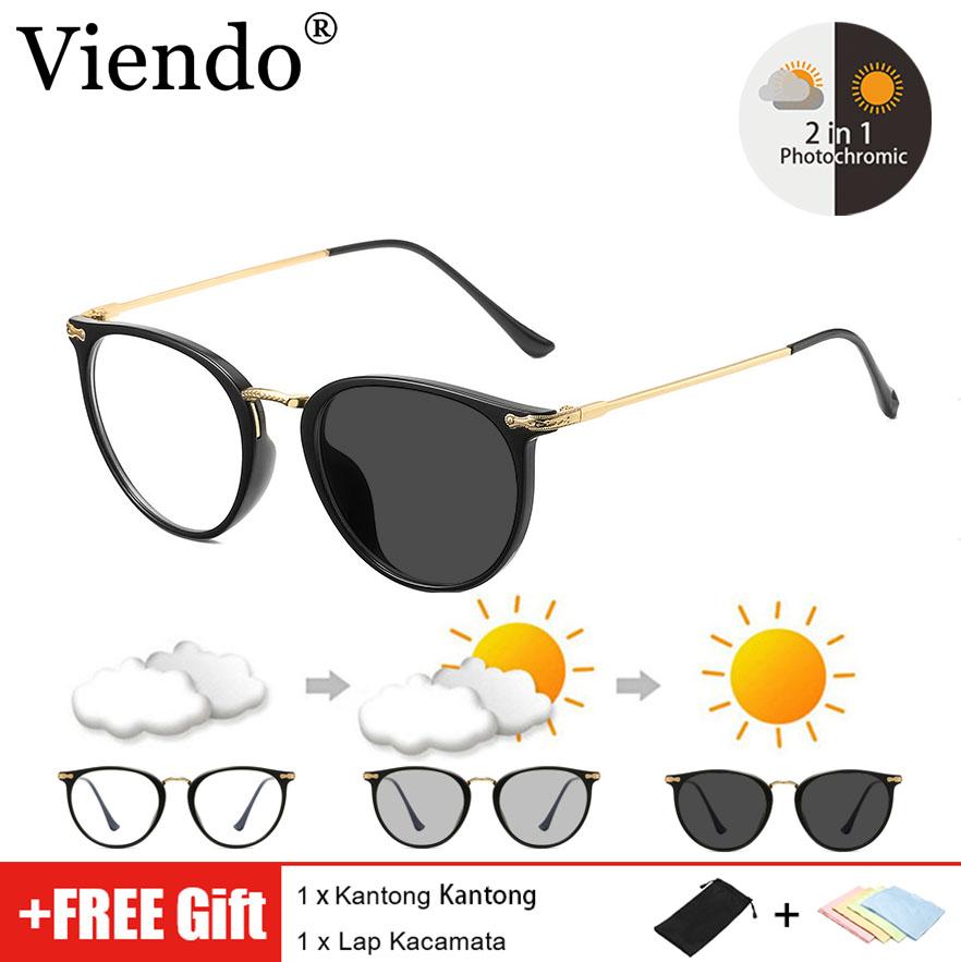 Viendo 2 in 1 Kacamata Photocromic Anti Radiasi Untuk Wanita Pria Elastik TR90 Frame Kacamata Komputer