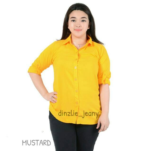 Kemeja Rayon Polos Wanita Warna Kuning Mustard Shopee Indonesia