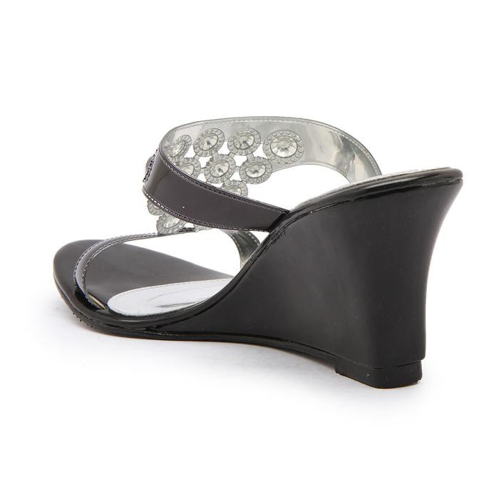 barang berkualitas PROMO Isabel BIANCA Sepatu Sandal Wanita Wedges Black  Hitam NEW Kekinian Murah  96bb3eab89