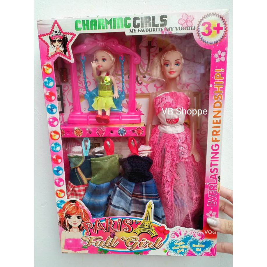 Bhgvfcdx Mainan Boneka Barbie Dan Anak Lengkap Baju Aksesoris Ayunan Doll Set Just For Girl Shopee Indonesia