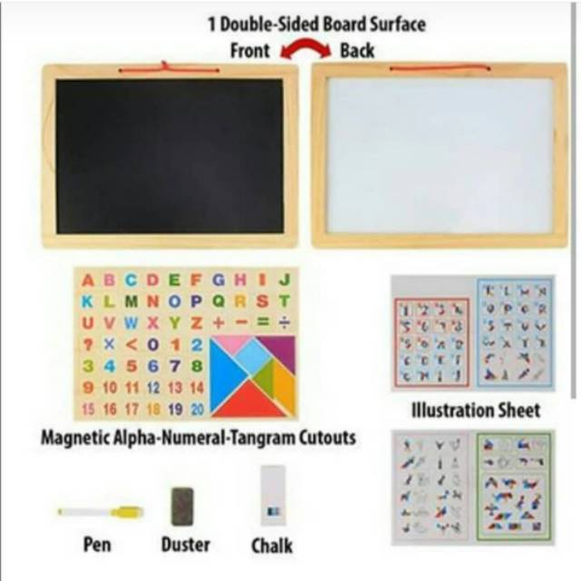 Edufuntoys - MAGNET BOARD PUZZLE & ABC+NUMBER / magnetic board/ papan tulis | Shopee Indonesia