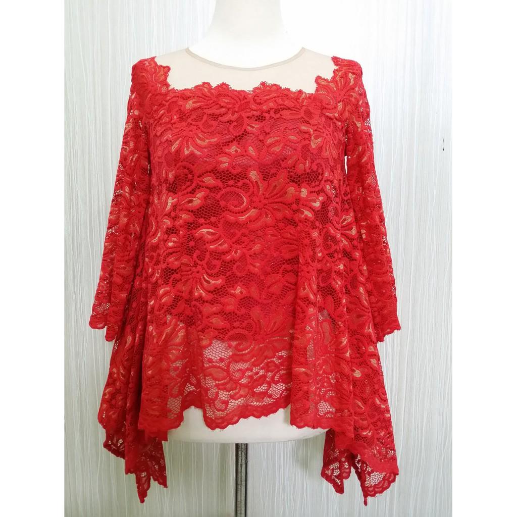 Kebaya Modern Lengan Panjang Model Kelelawar Merah Arcobaleno Shopee Indonesia