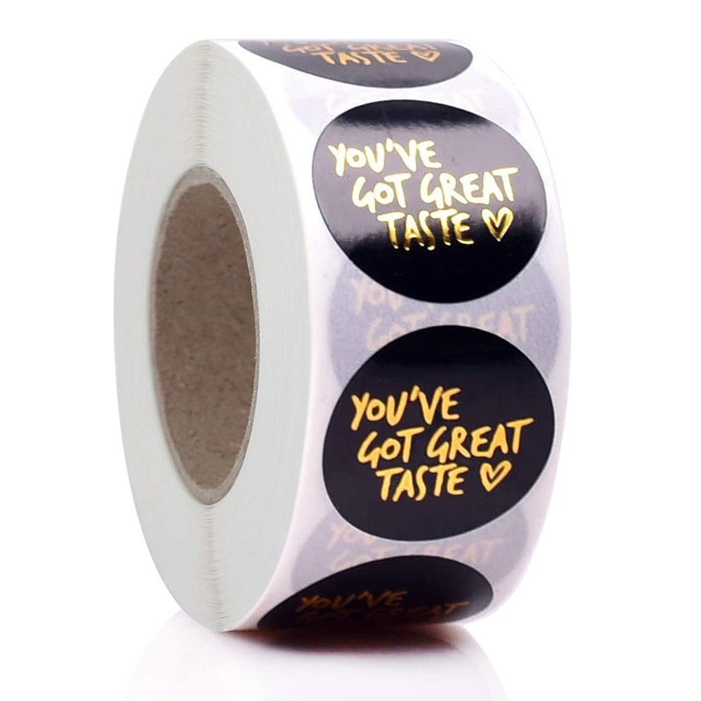 You Ve Got Great Taste Stickers Black Background Gold Foil Business Thank You Stickers 500pcs Label Shopee Indonesia
