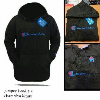 Jumper hoodie champion hitam bahan FLEECE TEBAL