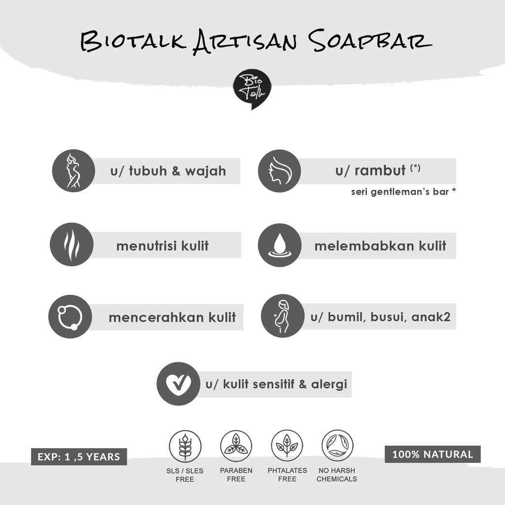 BioTalk Sabun Shampoo Natural Herbal | Gentleman's Bar Shampoo Soap | Kulit Normal |120 gram-7
