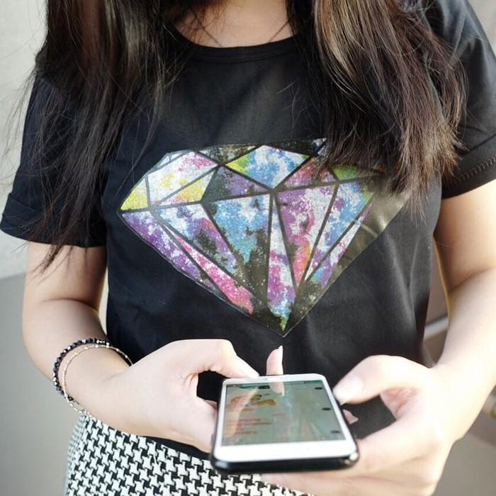 Baju Kaos T Shirt Wanita Lengan Pendek Size Fit to L Bahan Katun Motif Never Try