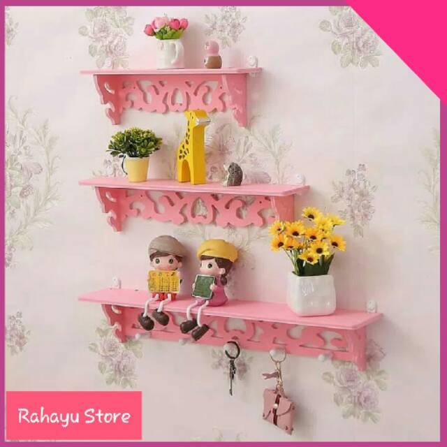 Rs Rak Dinding Warna Pink Rak Vintage Hiasan Dinding Rak Dekorasi 1 Set 3 Psc Rak Murah Shopee Indonesia