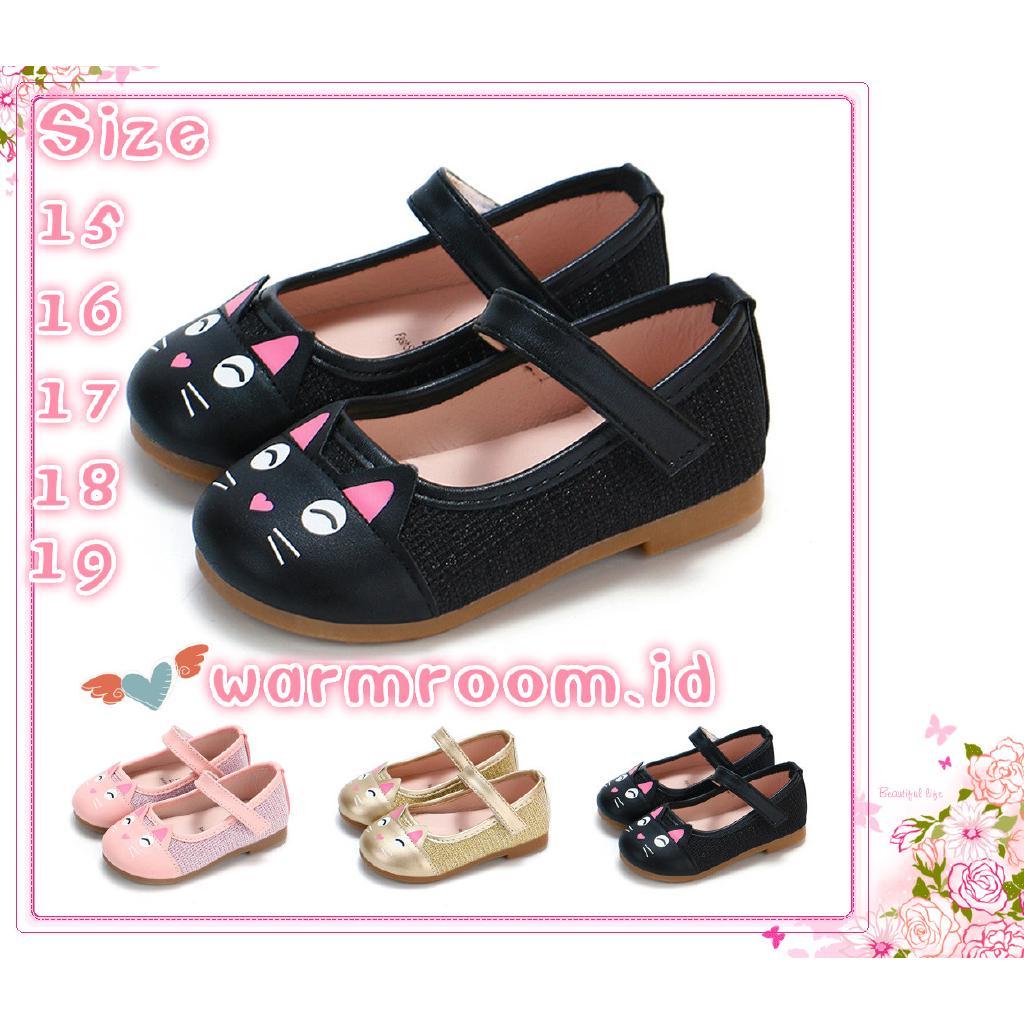 Sepatu Princess Kulit PU Anak Perempuan Gambar Kartun Kucing Lucu 0 15bulan