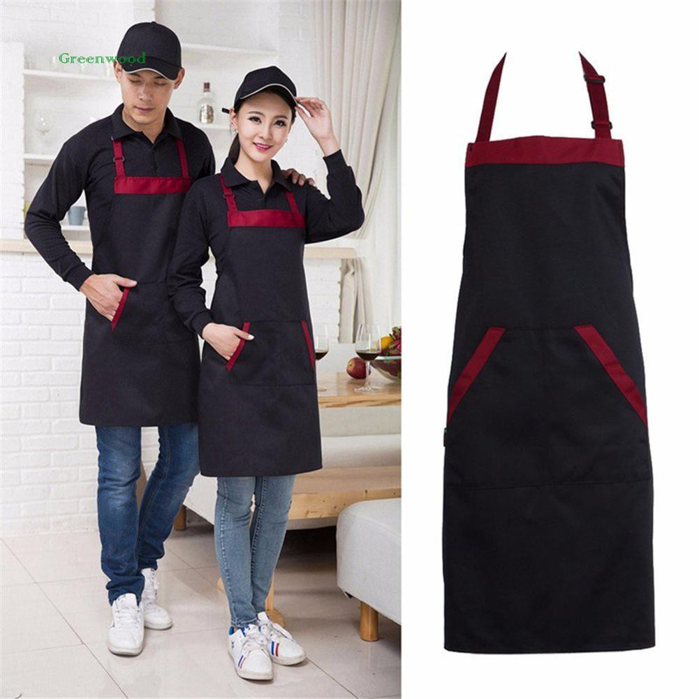 1Pcs Celemek Apron Dapur Cafe Restoran Bahan Canvas Dan Kulit PU Anti Air Dengan Saku Waterproof | Shopee Indonesia