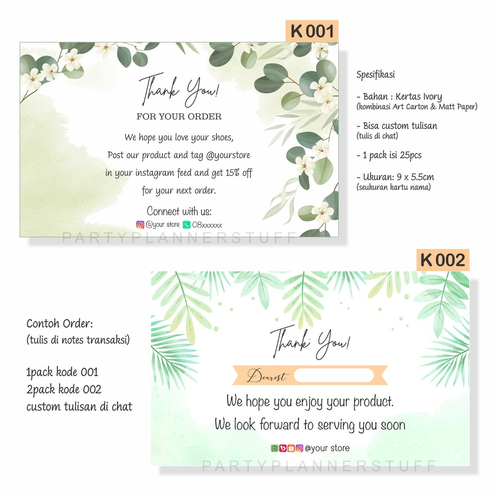 Kartu ucapan olshop / kartu terima kasih online shop ...