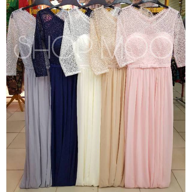 Dress Bridesmaid Model Slim Gaya Korea Warna Biru Navy Shopee