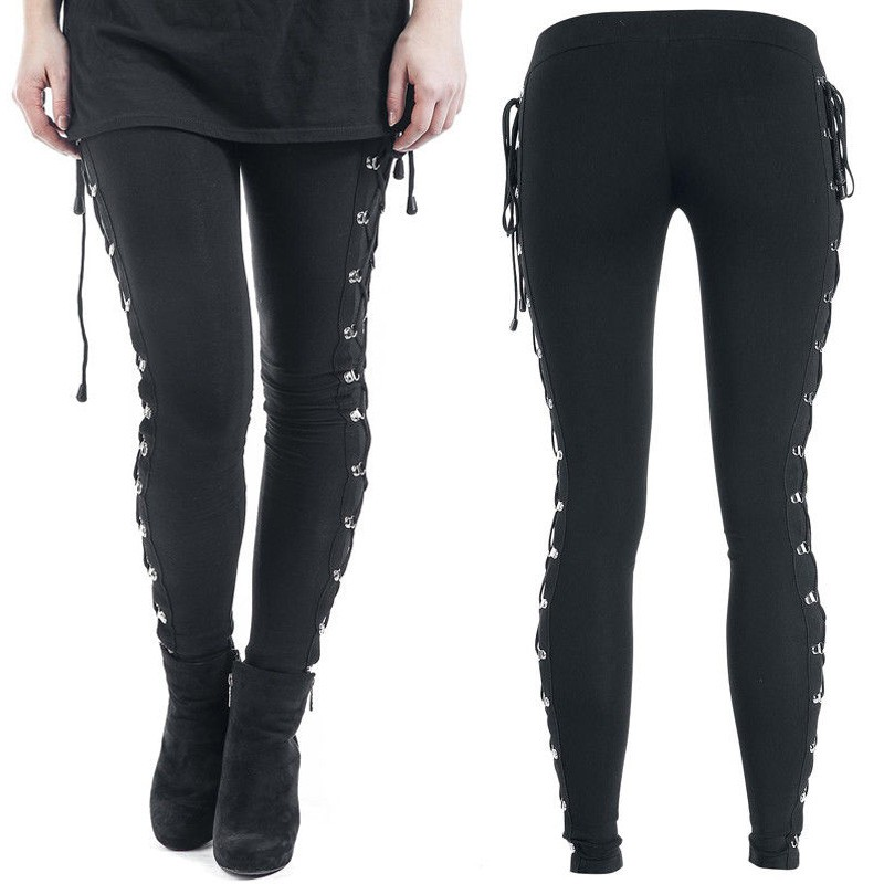Women Fahion Leggings Cross Pants Casual Trousers Side Lace Close-fitting Up