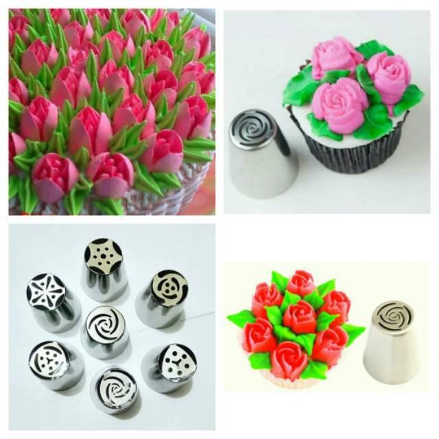 Spuit rusia impor tanpa sambungan dijual satuan bunga mawar tulip dll  dekorasi kue loyang cetakan | Shopee Indonesia
