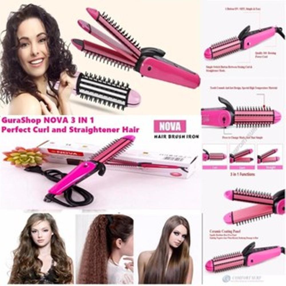 1 kg 3 pcs  Catok Nova 3 in 1   Catok Nova Curly 3in1   Hair Style Keriting  Lurus  b54f8c65dc
