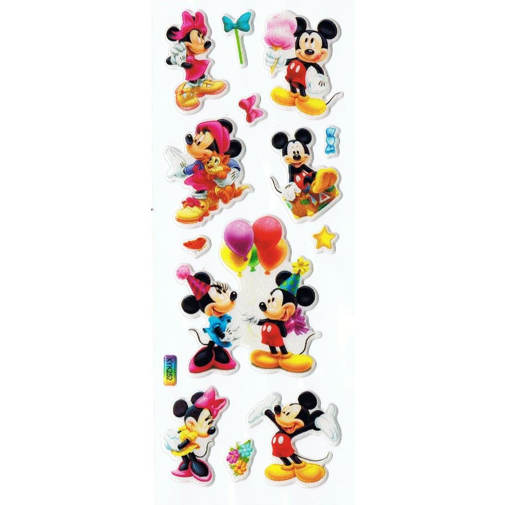 SK292 Stiker Sticker Timbul Set Strip Aneka Gambar Kartun Anak Mickey