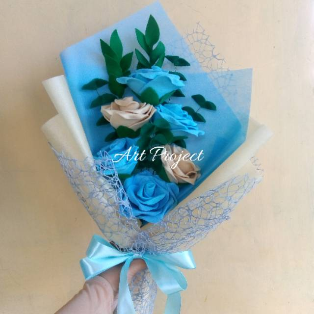Buket Bunga Mawar Biru Special Wrap Shopee Indonesia