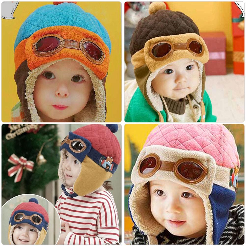 Kids Aviator Childrens Pilot Boys Girls Baby Toddler Beanie Warm Leather Hat