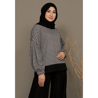 Mybamus Balloon Stripe Wrinkle Tops Black M15547 R69S6
