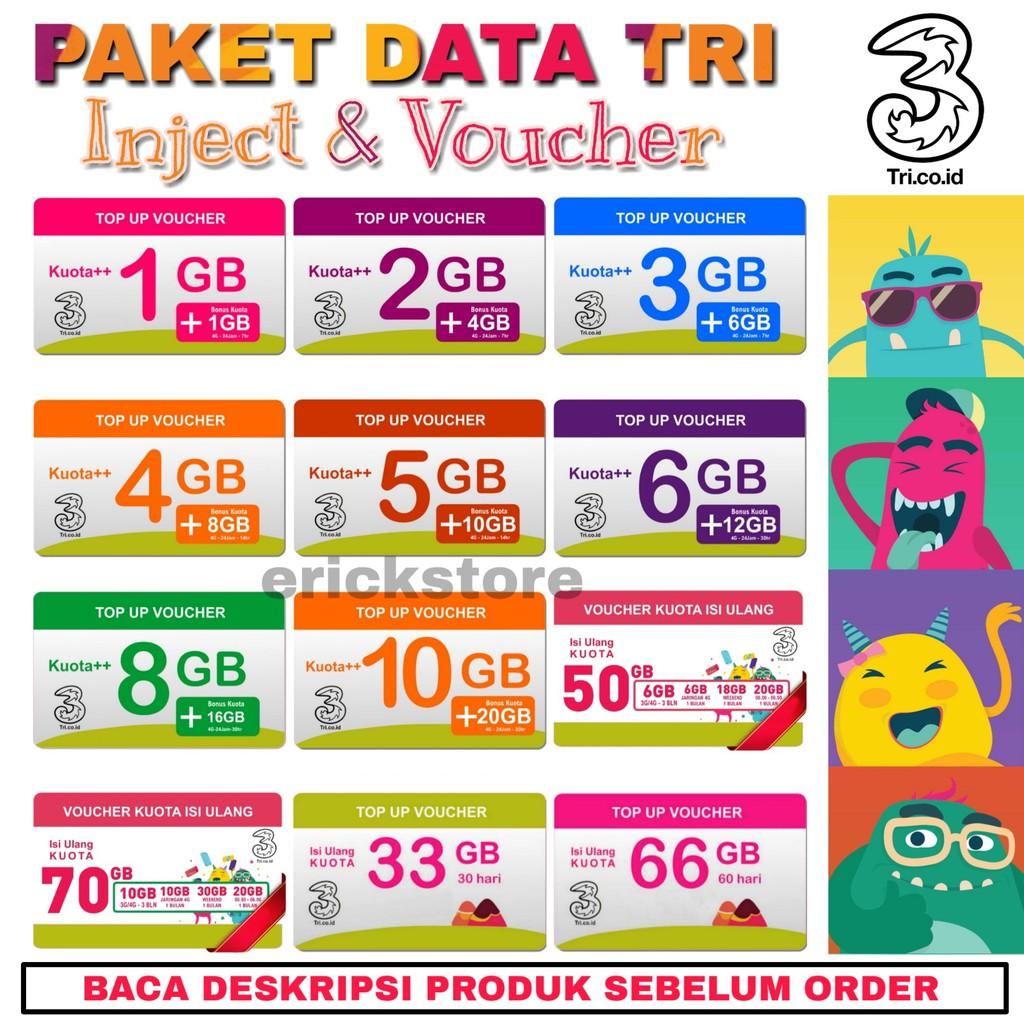 Paket Data Internet Tri Isi Ulang Voucher Bm Broadband Mini Gm Kartu Aon 1gb Getmore Cinta 50gb 70 Gb Shopee Indonesia