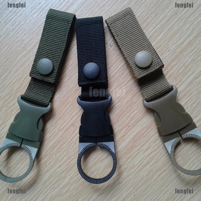 Outdoor Camping Water Bottle Holder Clip Hiking Tactical Carabiner Belt Buckle