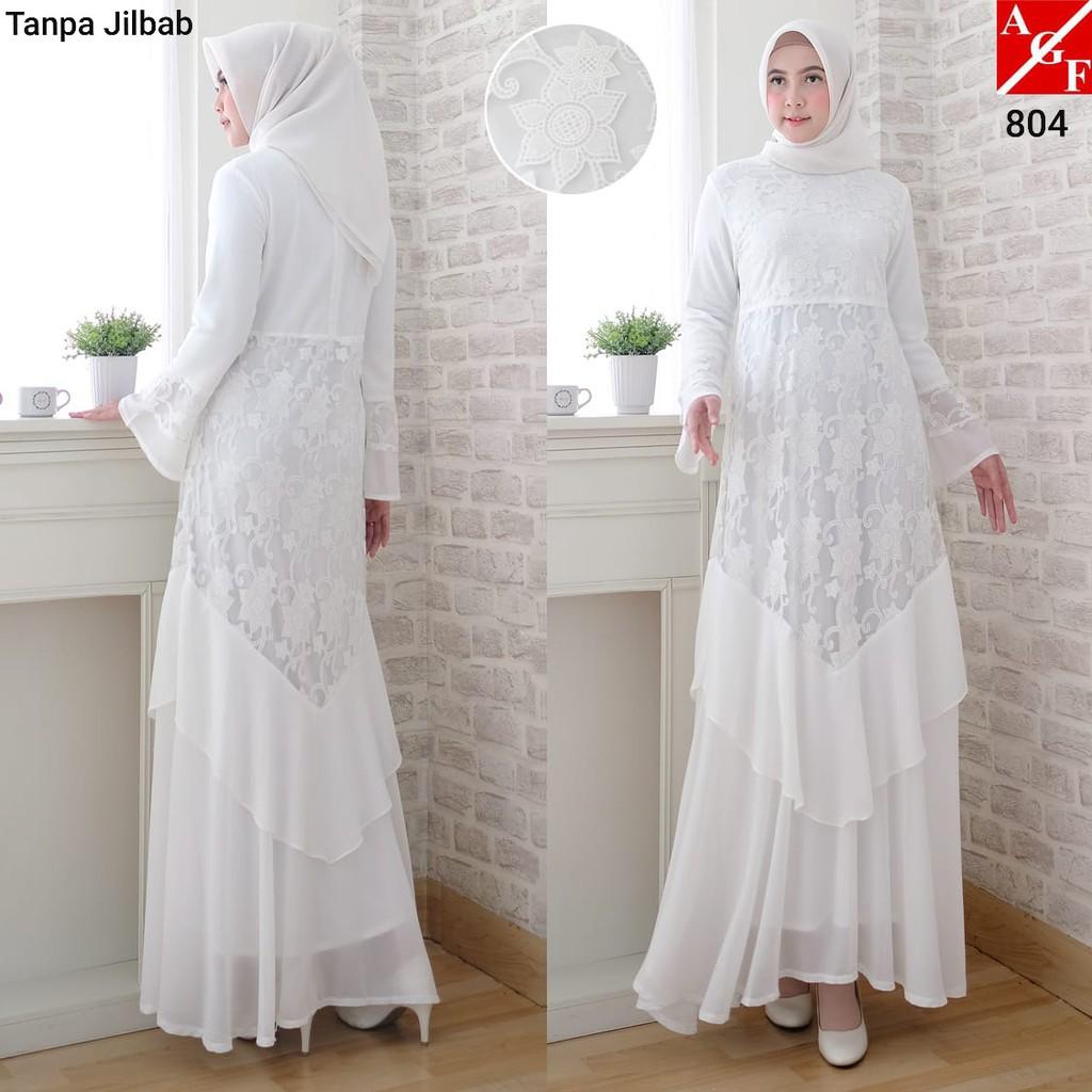 AGNES Baju Gamis Putih / Gamis Muslim / Baju Lebaran / Baju Busana Muslim  Wanita Terbaru #11