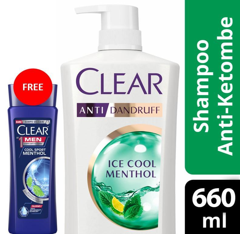 Buy Clear Shampoo Ice Cool Menthol 660 Ml Free Clear Men Cool Sport Menthol 160ml