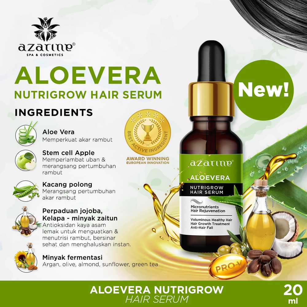 Azarine Hair Serum Nutrigrow Aloevera 20ml Shopee Indonesia