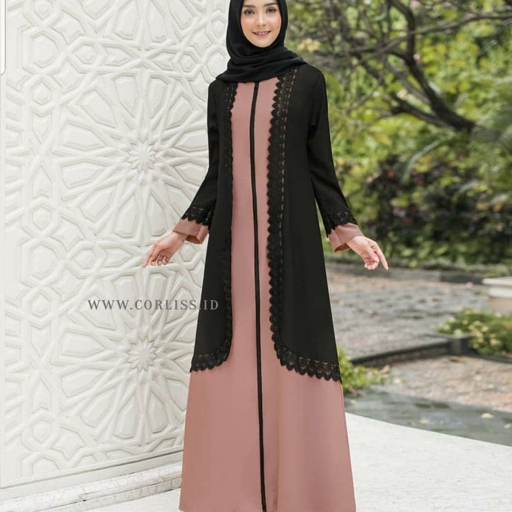 AURELIA MAXY Bahan WOLLYCRAPE MIX RENDA Gamis Wanita Panjang Muslimah Gamis  Muslim Terbaru Simple
