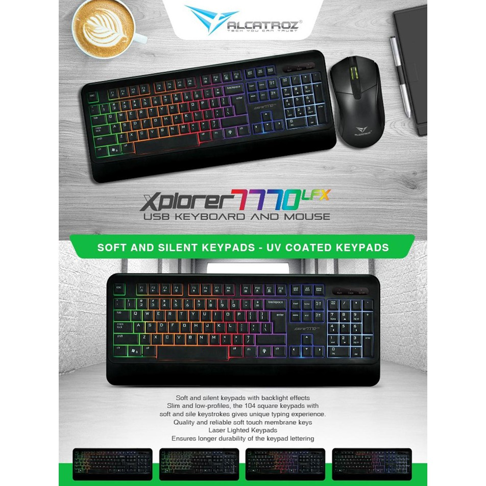 Alcatroz Keyboard Mouse Combo Xplorer 7770 Lfx Best Buy Shopee Lithium L2 Indonesia