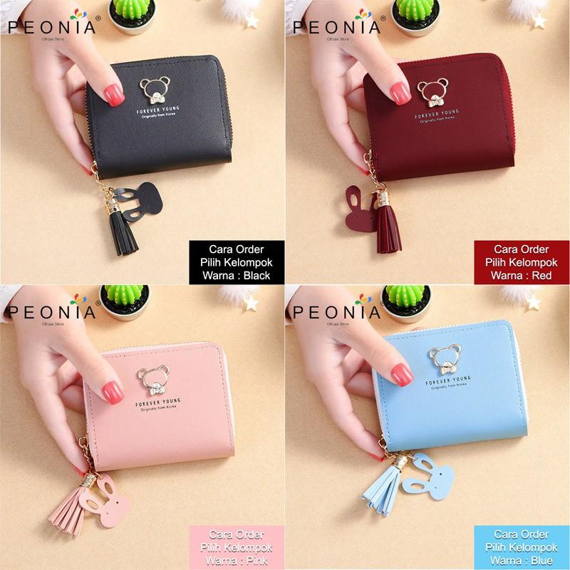 Peonia - Dompet Wanita Kecil Lipat Import - Wallet - Korea Fashion Style - Cutie Bear