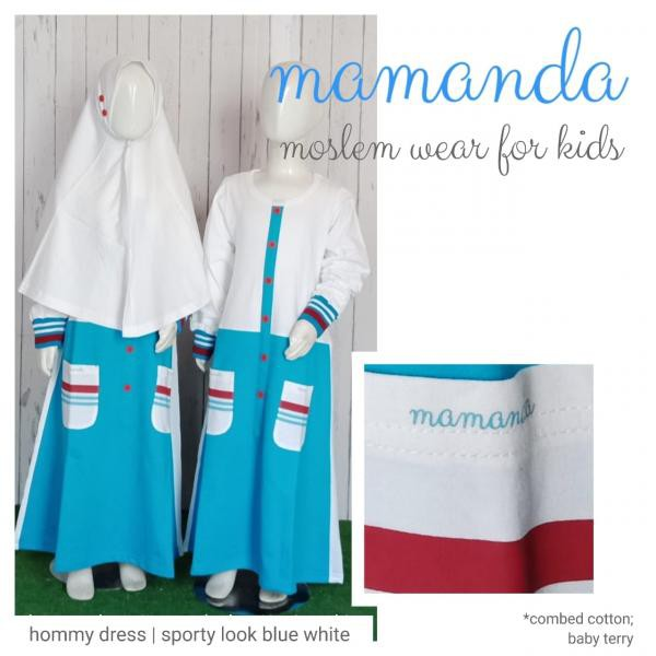 Gamis Anak Blue White Hommy Dress Sporty Look by Mamanda