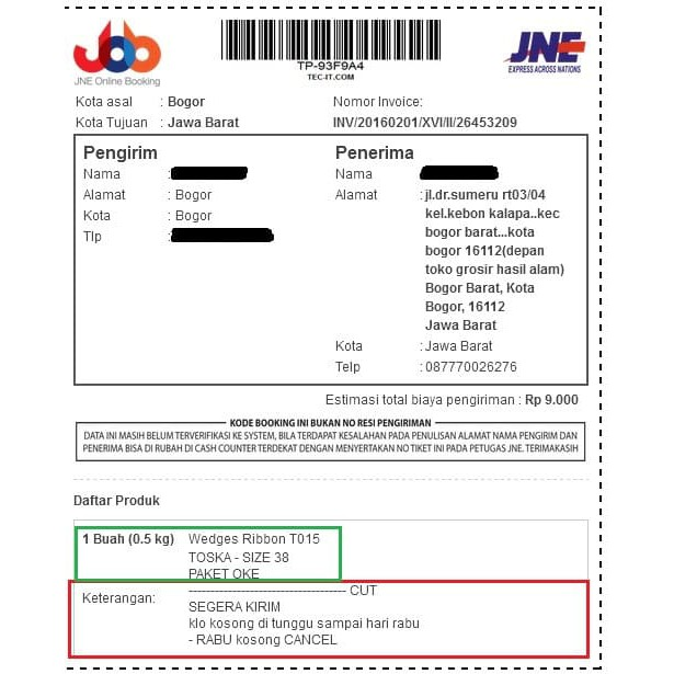 Contoh Invoice Shopee - Contoh Surat