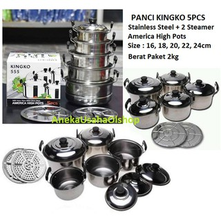 Panci Set Stainless Steel 5 Pcs + 2 Steamer / Alat Kukus | Shopee Indonesia