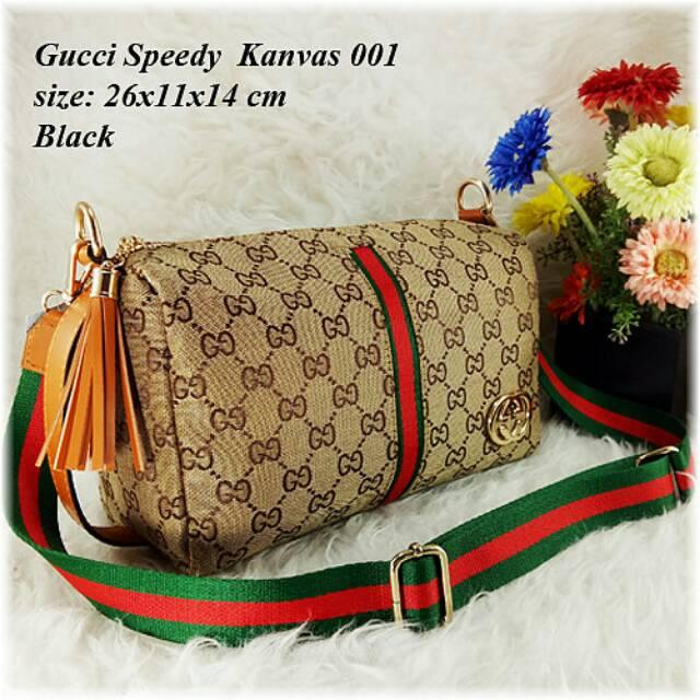 Gucci Speedy Boston 25cm Kanvas tali kulit  07fa515b55