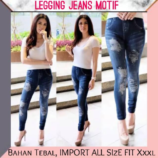Legging Jeans Motif Sobek Legging Jeans Import Legging Murah Shopee Indonesia