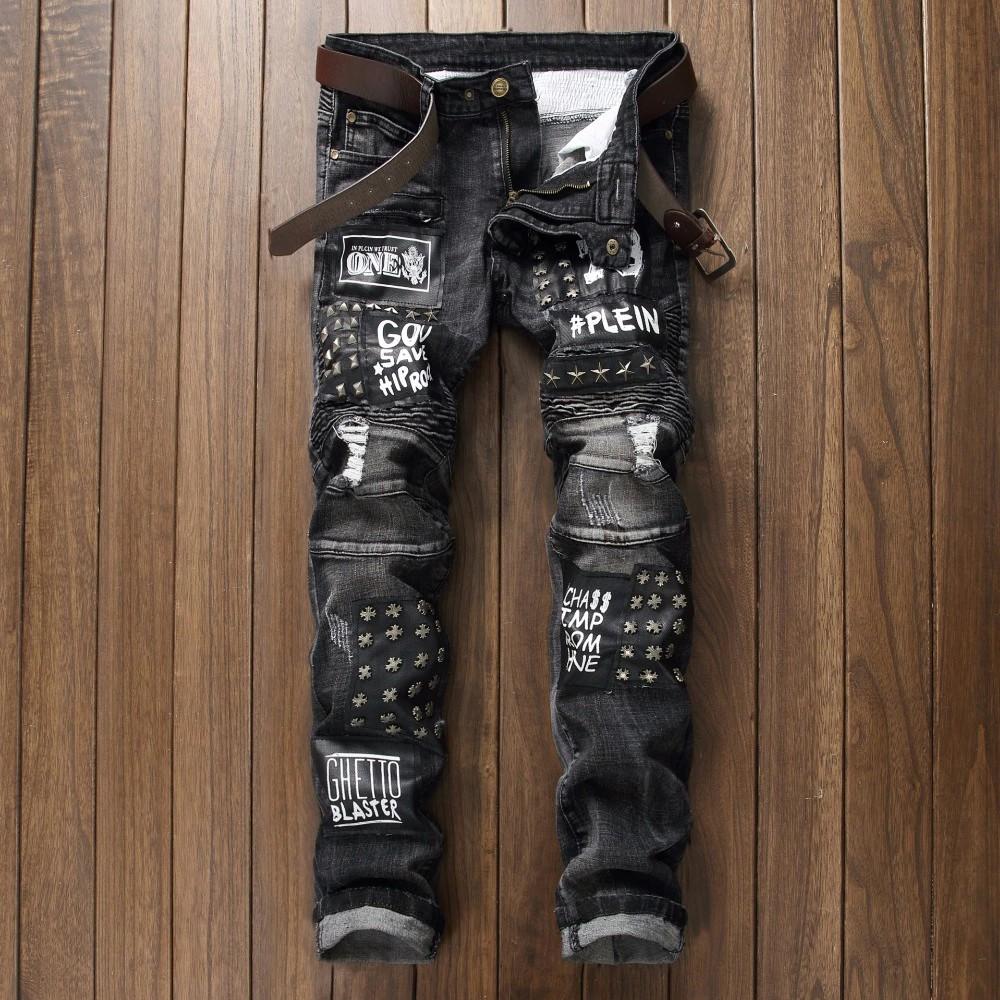 Gxxh Mens Denim Ukuran 28-48 Besar dan Tinggi Pria Robek Peregangan Celana Pendek Jeans